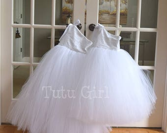 White Flower Girl Tutu Dress