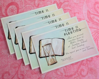 8 Vintage Sunday School Postcards - Time is Fleeting... You Missed Another Hour