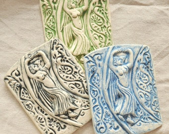 Alpena, Goddess of Flowers - Bas Relief Tile - Green, Black or Blue Wash on White Stoneware - Nature Goddess, Italy, Historical Artifact