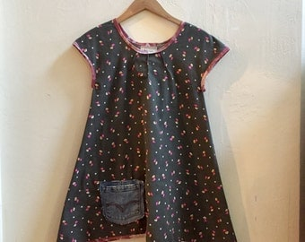 SALE! Country print dress - XS women, L girl's size, handmade cap sleeved dress with Levi's jean's pocket, cute summer cotton dress, vintage
