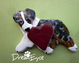 Australian Shepherd Love Pin Artist Hand-Made OOAK Brooch Dog Art Jewelry