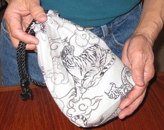 Japanese Dragons and Tigers Design Mens' Pouch Light Gray