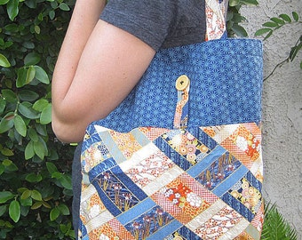 Tuck and Roll Fold-Up Portable Shopping Tote Japanese Diagonal Patchwork Look Design