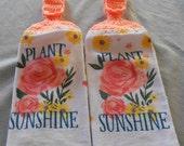 Crocheted Top Flower Theme Kitchen Towel Set - Flower Granny Kitchen Towels - Floral Hand Towel Set - Flower Hanging Towel -