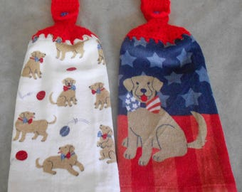 Dog Crochet Top Hanging Towel - Dog Theme Handle Top Towel - Dog Theme Granny Towel - Dog Theme Crochet Top Towel - Dog Theme Hand Towel