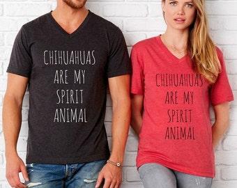 CHIHUAHUAS are my Spirit Animal UNISEX tri blend V neck shirt  screenprinted Mens Ladies