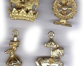 vintage charms assorted fun charms gold tone CARNIVAL THEME charms antique retro charms FOUR in all