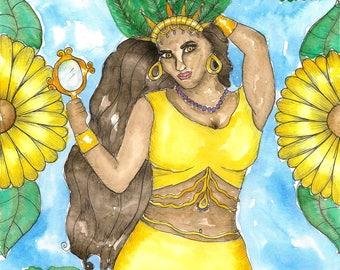 Voodoo Art Goddess Oshun Original Watercolor Painting African Fantasy Art Pagan Art Spiritual Art Divine Feminine Sacred Art Santeria Orisha