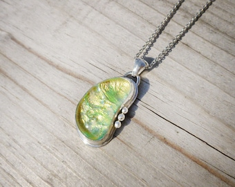 Moonbeams Dichroic Fused Glass  .935 Argentium Sterling Silver Pendant