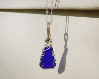 Cobalt Blue Sea Glass Beach Necklace Pendant Wire Wrapped Argentium Silver