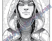Single Coloring Page - Gypsy Mystic from the Magical Beauties Collection - Download, Print & Color!