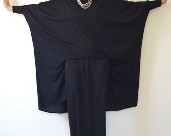 SUMMER SALE / 20% off Vintage 70s 80s Avant Garde Black Midi Dress (size medium, large)