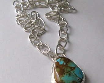 Chunky American King's Manassa Turquoise and Sterling Silver Necklace Pendant