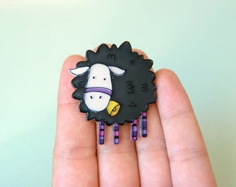 Black sheep brooch, farm animal jewelry, illustrated jewelry