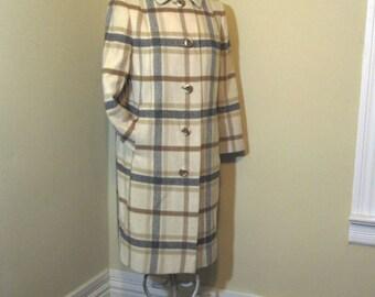 Cashmere Plaid Coat Camel vintage wool coat 70s Minimalist winter Coat Camel and Brown Plaid coat 70s Cashmere Coat S  M