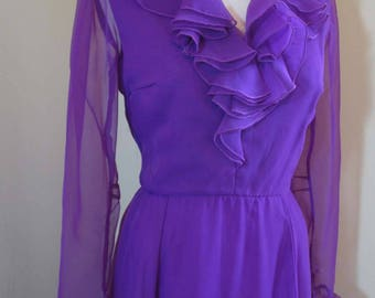 Vintage Purple ruffled maxi Dress vintage Chiffon dress 70s Party maxi dress vintage 70s Purple Miss Elliette Dress M