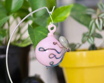 Octopus Ornament / Hand Blown Glass / Glass Ornament / Pink Ornament / Easter Decor / Pink Cadillac & Silver Amethyst / Ready to Ship #622