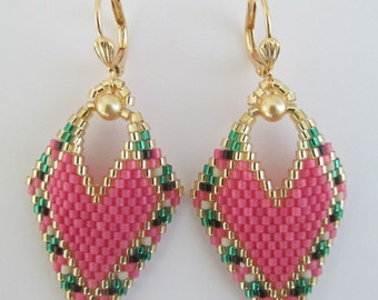 Seed Bead Leaf Earrings - Copyright 2016 - Patti Ann McAlister -Pink
