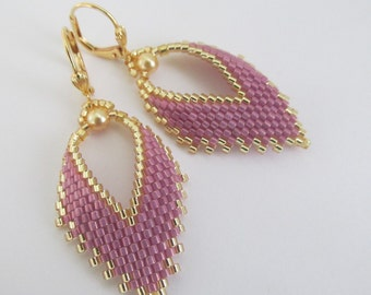 Russian Leaf Earrings - Opaque Rose Luster
