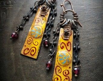 Enameled Charms, Enameled Earrings, South West, Aztec, Tribal, Vintage, Chain, Earthy, Organic, Rustic, Beaded Earring
