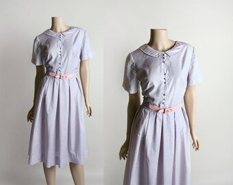 RESERVED Vintage 1960s Dress - Purple Gingham Country Girl Picnic Button Up Shirtdress with Pink Belt - Small Medium