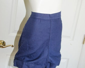 Vintage 1950's Navy Blue High Waist Gym Bloomer Shorts