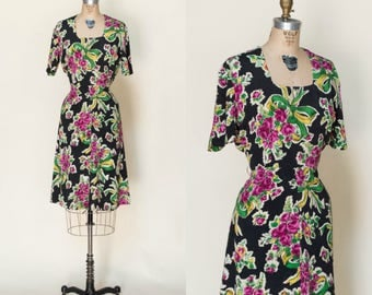 RESERVED /// 1940s Floral Day Dress --- Vintage Black Dress