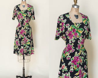 1940s Floral Day Dress --- Vintage Black Dress