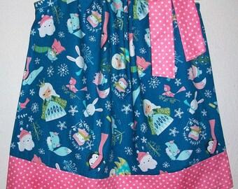 Pillowcase Dress size 18m Ice Princess Dress with Fox Frozen Birthday Toddler Dress with Penguin Winter Wonderland Polar Bear  Ready to Ship