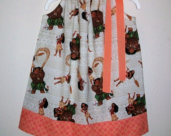 Moana Dress Pillowcase Dress with Moana & Pua Princess Dress baby dress toddler dress Moana Birthday Polynesian Princess Maui Girls Dress