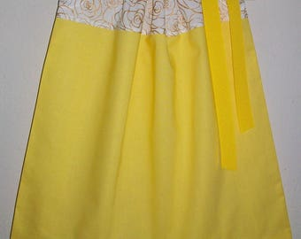 Belle Dress Belle Costume Pillowcase Dress Beauty and the Beast Birthday Party Dress Up Clothes Belle Inspired Dress Yellow Dress with Roses