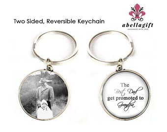 Grandfather Keychain, New Grandpa Keychain, birth announcement, Grandfather Gift, Grandmother Keychain, Double sided keychain