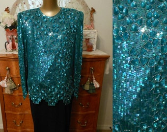 Vintage 80s Sequined Blouse Top, 1980s Iridescent Emerald Green Silk Beaded and Sequined Floral Motif, Size L Large