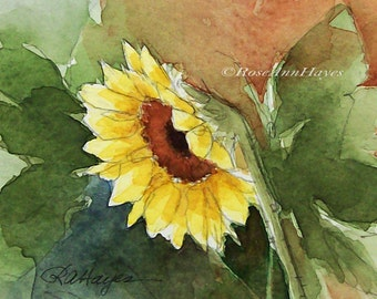 Sunflower Wildflower Watercolor Painting Original Floral Flower ACEO Garden Gift