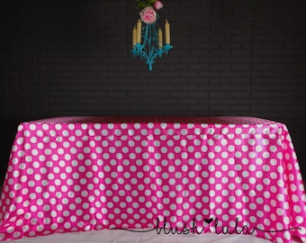 HOT Pink And White Polka Dot Tablecloth For Birthday Wedding Dessert Table  Cake Table Event Decor
