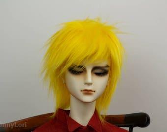 Yellow doll wig SIZE CHOICE faux fur wig BJD