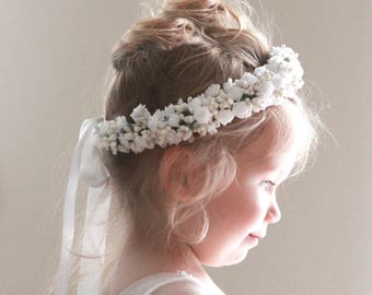 Flower girl crown, White flower girl crown, rose floral wreath, Toddler Photo Prop, Photography prop, Pink purple headband (12+ months)