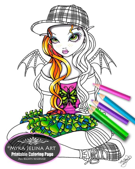 myka jelina coloring pages micky fairy digital download coloring page myka jelina art