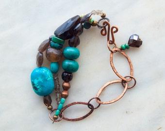 Turquoise Triple Strand Bracelet Boho Bracelet Copper Chain Semiprecious Statement Bracelet Gift for Best Friend Gift for Her Gift for Women