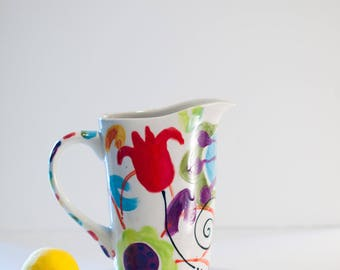 Ceramic Pitcher Water Pitcher Boho Pitcher Jubilation Straight Sided Pitcher Beverage Pitcher Colorful Hostess Gift Wedding Gift for Couple