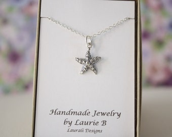 Starfish Charm Necklace, Friendship Gift, Sterling Silver, Bestie Gift, Silver Starfish, Thank you card, Ocean Life Charm