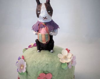 Spun cotton dutch rabbit with basket figure by Maria Paula