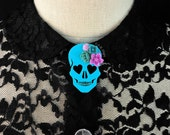 Blooming Love Skull Brooch - Turquoise - Heart Eyed Skull with Purple Flowers  (C.A.B. Fayre Original Design)