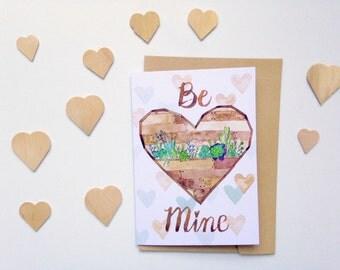 Garden Heart Succulent Cactus Valentine's Love card - Be Mine - A6 watercolour print