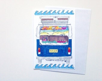 VW Kombi Card - surf greeting card - Australian retro surfer Card -  - A6 watercolour print