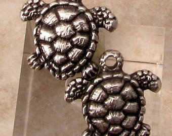 Greek Casting, Turtle Charms, Antique Silver, 2 Pieces, M465