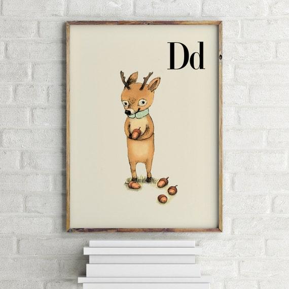 D for Deer - Alphabet art - Alphabet print - ABC wall art - ABC print - Nursery art - Nursery decor - Kids room decor - Children's art