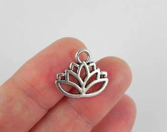 20 Lotus Flower Charms in Antique Silver - 15mm x 16.5mm - Yoga