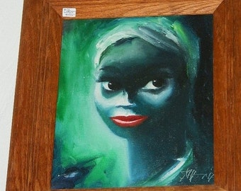 1970's Oil Painting, Beautiful Black African Women Painting, Black Americana, Red Lips, Tribal, Ethnic African Woman