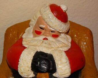 Chalkware Santa Doorstop, Santa Claus, Rosey Cheeks, Sleeping Santa Door Stop, Mid Century Modern, Red & Christmas Green, Christmas Eve